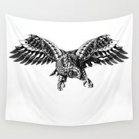 ornate Wall Tapestries featuring Ornate Falcon by BIOWORKZ