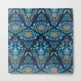 Bright colorful geometric floral blue tradition pattern Metal Print
