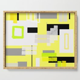 yellow white black silver grey green orange geometric modern art Serving Tray