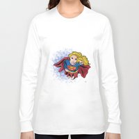 supergirl Long Sleeve T-shirts featuring Supergirl by Waterflybooks