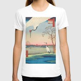Red-crowned Crane Vintage Ukiyo-e Japanese Art T-shirt