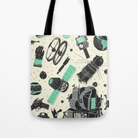 ashton irwin Tote Bags featuring Space Funk by Josh Ln