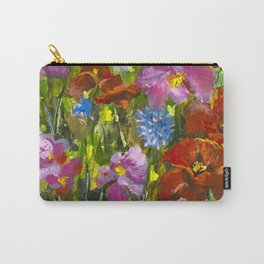 Big red red poppies field, pink wildflowers in green grass Carry-All Pouch