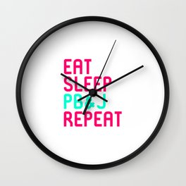 Eat Sleep Peanut Butter and Jelly Quote Wall Clock