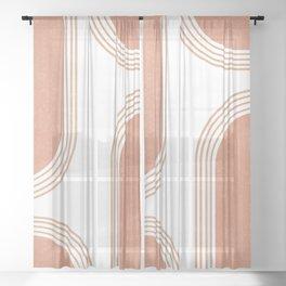 Mid Century Modern 4 - Geometrical Abstract - Minimal Print - Terracotta Abstract - Burnt Sienna Sheer Curtain