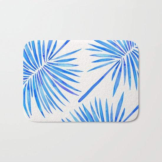 Tropical Fan Palm – Blue Palette Bath Mat