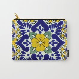 talavera mexican tile in yellow and blu Carry-All Pouch