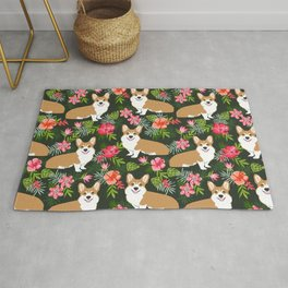 Welsh Corgi hawaiian print pattern florals tropical summer dog breed pet portrait Rug