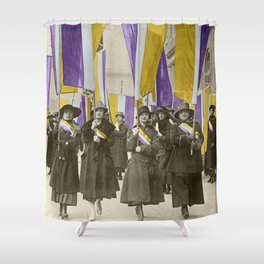 Feb 1917: On their day off, Working Women protest in front of White House for the right to vote Shower Curtain