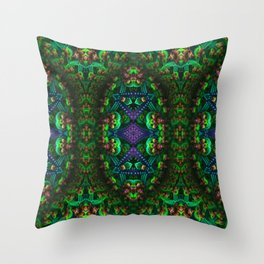 Psychedelic - Forest - Fractal - Manafold Art Throw Pillow