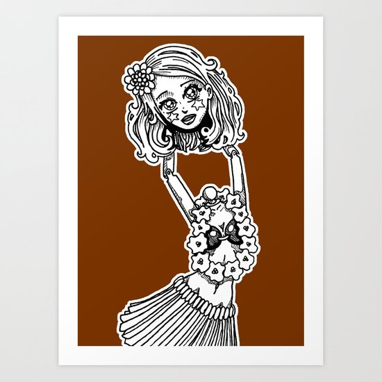 Headless Hula Girl by Ronkytonk Art Print