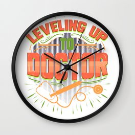 College Graduate Leveling Up to Doctor Graduation Gift Wall Clock