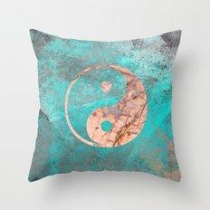 Yin Yang - Rose Turquoise Marble Throw Pillow
