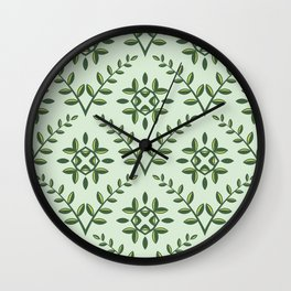 Green Olive Branch Pattern Wall Clock