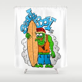 Beach Boy Surfer Monster - waiting for big wave Shower Curtain
