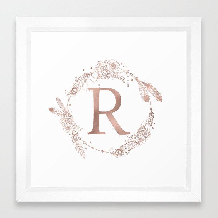 Letter R Rose Gold Pink Initial Monogram Framed Art Print By