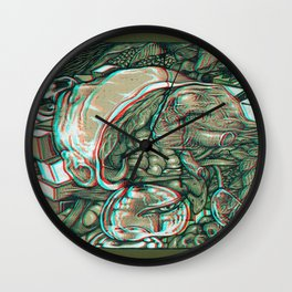 imaginations of mind 3D anaglyph Wall Clock