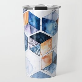 Flying cubes with blue watercolor Travel Mug