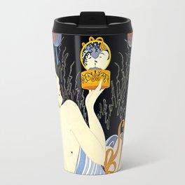 "Art Deco Illustration ""Stolen Kisses"" by Erté Travel Mug"