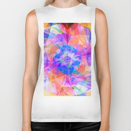Modern bright pink lavender abstract kaleidoscope pattern Biker Tank