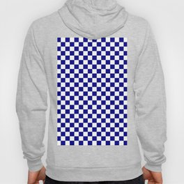 White and Navy Blue Checkerboard Hoody