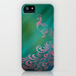 Whimsical Pink Peacock Against Teal Digital Illustration iPhone Case