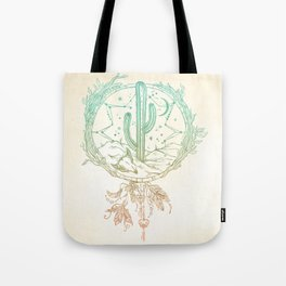 Desert Cactus Dreamcatcher Turquoise Coral Gradient Tote Bag