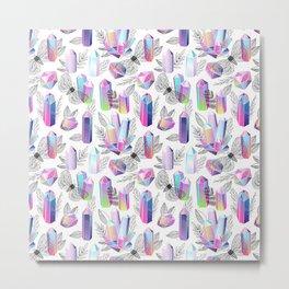 Crystals and Moths Metal Print