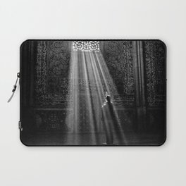 Rays of Sun through medieval blind window tracery black and white photograph / art photography Laptop Sleeve