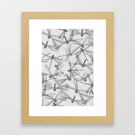 watercolor dragonflies silver Framed Art Print