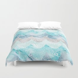 Light Aquamarine Mermaid Scales Waves Pattern Duvet Cover
