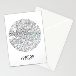 London City Map of England - Circle Stationery Cards