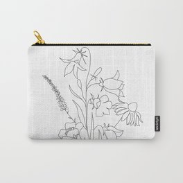 Small Wildflowers Minimalist Line Art Carry-All Pouch