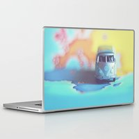 vw bus Laptop & iPad Skins featuring Silver VW Bus by Anna Dykema Photography