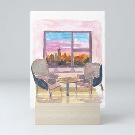 Cozy Panorama Window To Downtown Seattle Washington Mini Art Print