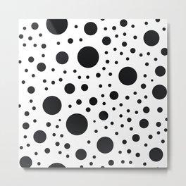 Polka Dots in Black and White Metal Print