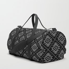 Aztec Symbol Pattern Gray on Black Duffle Bag