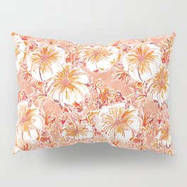 KOMBUCHA-CHA Orange Tropical Hibiscus Floral Pillow Sham