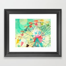 Panoramic carnival ferris wheel Framed Art Print
