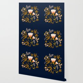 Dark Blue Floral Design Wallpaper