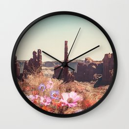 Floral Desert Blooms Wall Clock