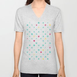 LOTS OF DOTS / prussian blue / turquoise green / deep red / yellow Unisex V-Neck