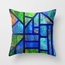 Art Deco Colorful Stained Glass Mosaic Throw Pillow
