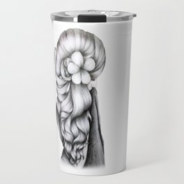 Black & White Pencil Sketch - Wavy Hair Flower Girl Travel Mug