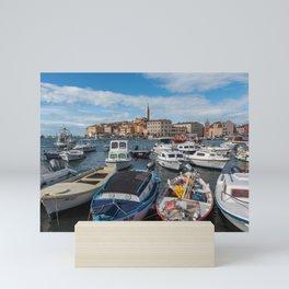 Boats on the Waterfront Rovinj Croatia Mini Art Print