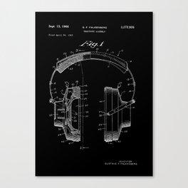 Headphones Patent - White on Black Canvas Print