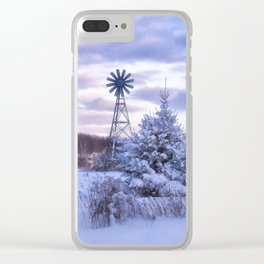 Windmill in the Snow Clear iPhone Case