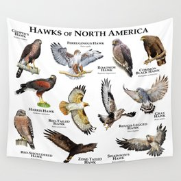 Hawks of North America Wall Tapestry