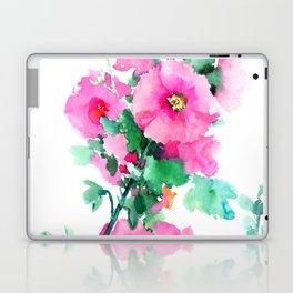 Hollyhock, Green pink design floral, Pink Flowers vintage floral design Laptop & iPad Skin