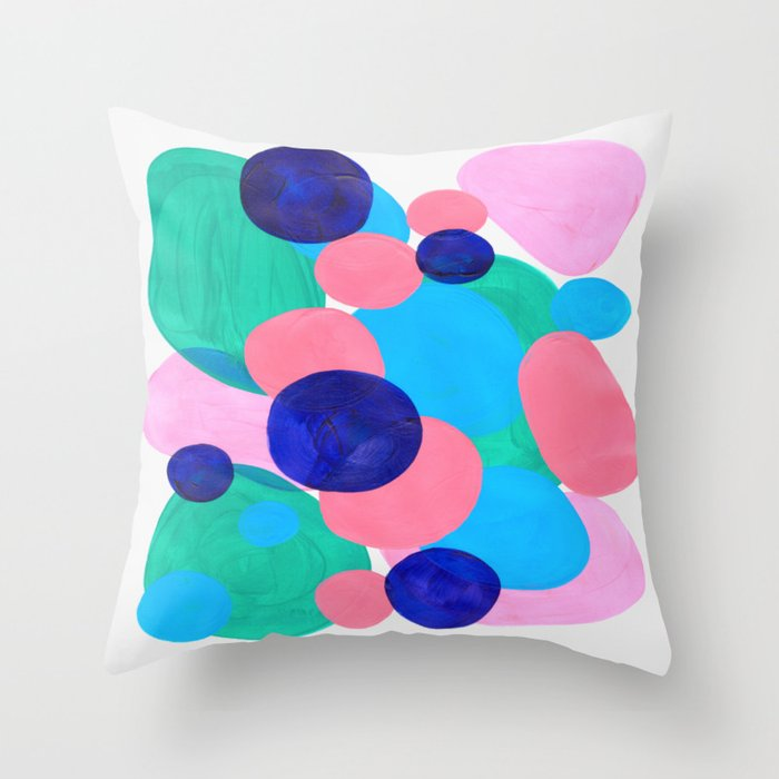 Mid Century Modern Minimalist Abstract Painting Pastel Pink Blue Teal Bubbles Cool Shapes Fun Patter Throw Pillow